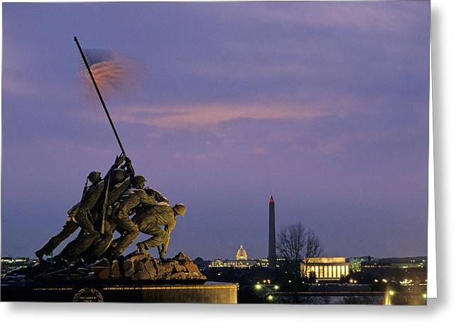 Historic Landmarks Greeting Cards - View Of The Iwo Jima Monument Greeting Card by Kenneth Garrett