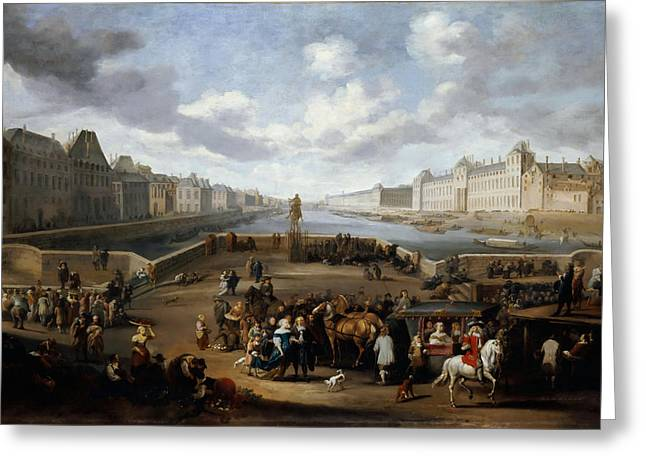 Seascape With Clouds Greeting Cards - View of the Louvre with the New Bridge Greeting Card by Celestial Images