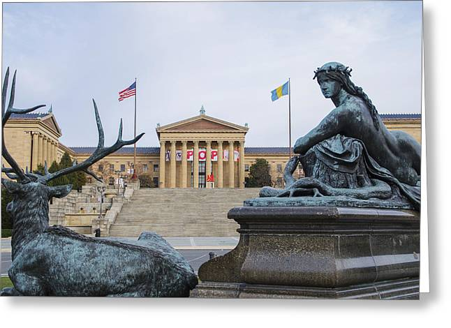 View Of The Museum Of Art In Philadelphia From The Parkway Greeting Card by Bill Cannon