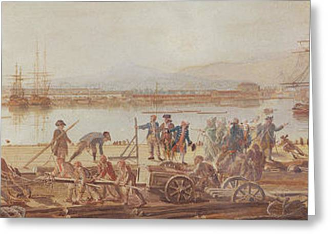 View Of The New Port Of Toulon Greeting Card by Michel de Toulon