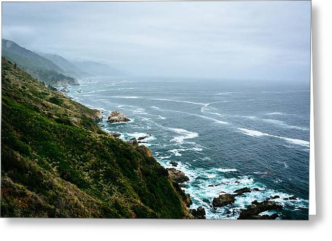 Big Sur Greeting Cards - View of the Pacific Ocean from cliffs in Big Sur California Greeting Card by Jon Bilous