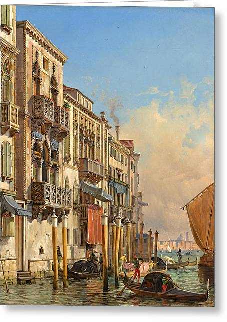Sun On The Beach Drawings Greeting Cards - View of the Palazzetto Contarini pheasant conditions Greeting Card by Friedrich Christian Nerly