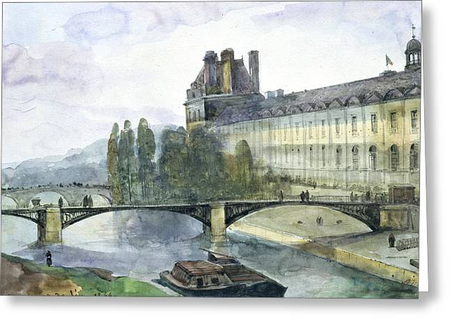 River Boat Greeting Cards - View of the Pavillon de Flore of the Louvre Greeting Card by Francois-Marius Granet
