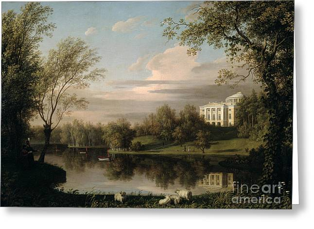 View Of The Pavlovsk Palace Greeting Card by Carl Ferdinand von Kugelgen