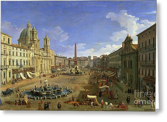 Rome Greeting Cards - View of the Piazza Navona Greeting Card by Canaletto