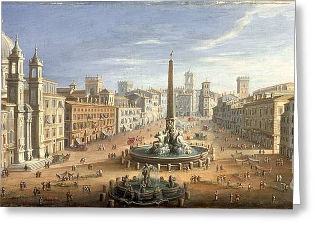 View Of The Piazza Navona Greeting Card by MotionAge Designs