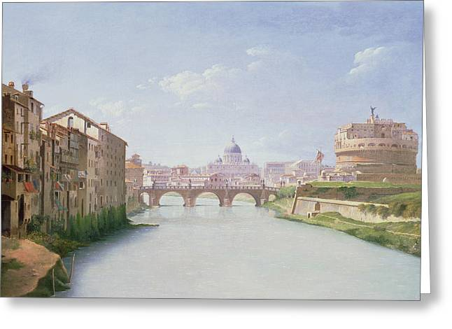 View Of The Ponte And Castel Sant'angelo In Rome Greeting Card by Christoffer-Wilhelm Eckersberg
