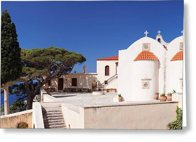 Crete Greeting Cards - View Of The Preveli Monastery, Preveli Greeting Card by Panoramic Images