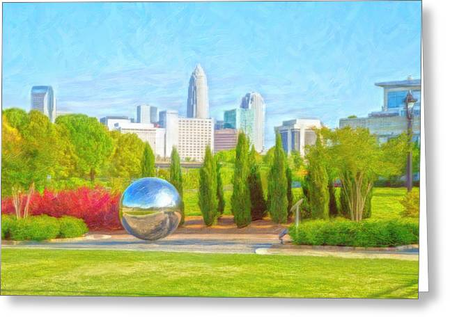 Charlotte Digital Art Greeting Cards - View of the Queen City Greeting Card by Elizabeth Mundy