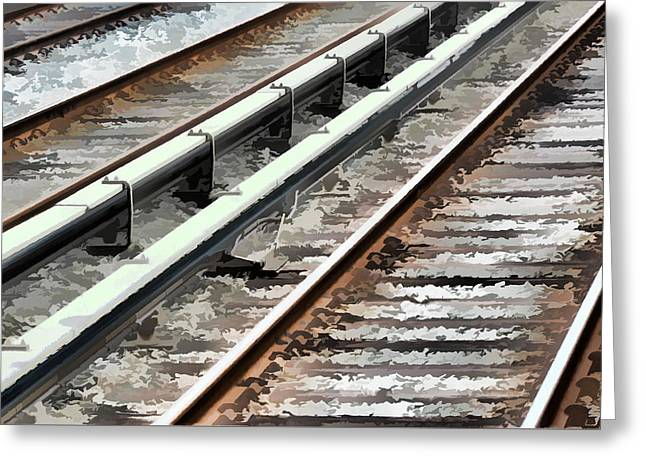 Technical Paintings Greeting Cards - View of the railway track  Greeting Card by Lanjee Chee