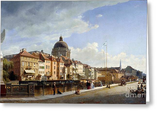 The Houses Greeting Cards - View of the rear facade of the houses and the Schlossfreiheit Greeting Card by Eduard Gaertner
