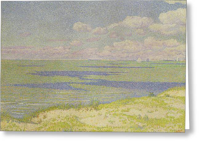Pointillist Greeting Cards - View of the River Scheldt Greeting Card by Theo van Rysselberghe