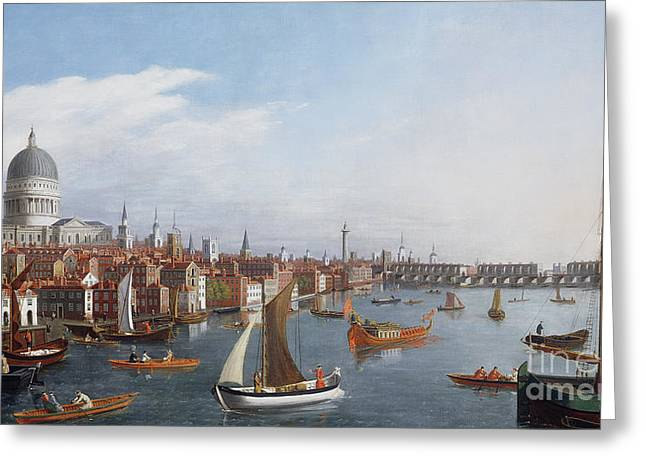St Paul Greeting Cards - View of the River Thames with St Pauls and Old London Bridge   Greeting Card by William James