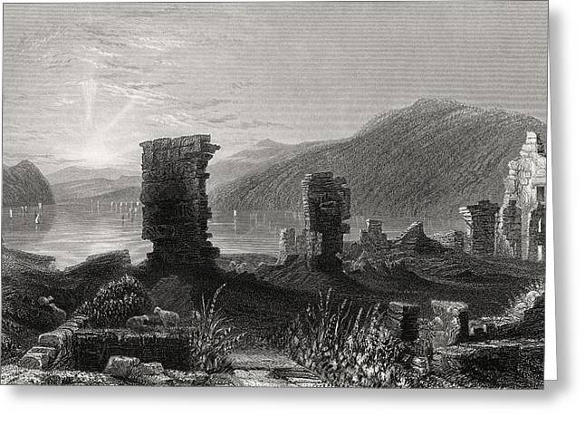 Black American Drawings Greeting Cards - View Of The Ruins Of Fort Ticonderoga Greeting Card by Ken Welsh