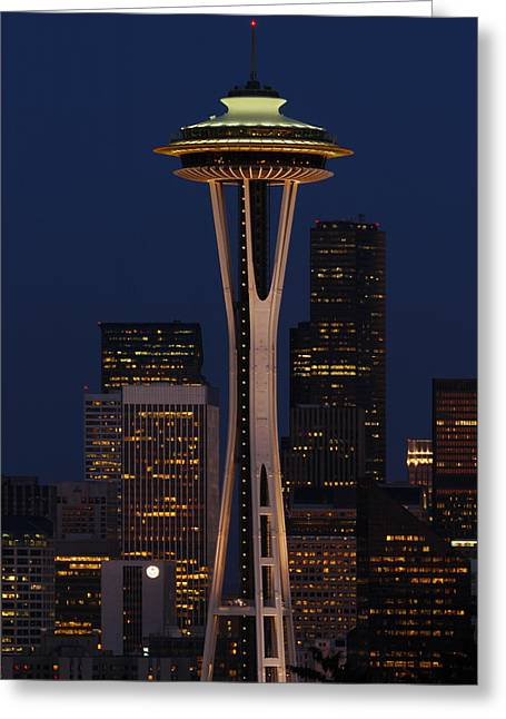 Office Space Greeting Cards - View Of The Space Needle And Seattles Greeting Card by Darlyne A. Murawski