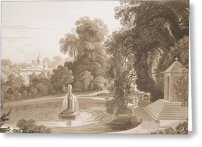 Featured Drawings Greeting Cards - View of the Temple of Suryah and the Fountain of Mahah Doo Greeting Card by John Martin