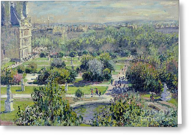 Aerial Greeting Cards - View of the Tuileries Gardens Greeting Card by Claude Monet
