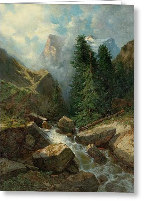 View Of The Wellhorn And Wetterhorn From Rosenlaui Greeting Card by Alexandre Calame