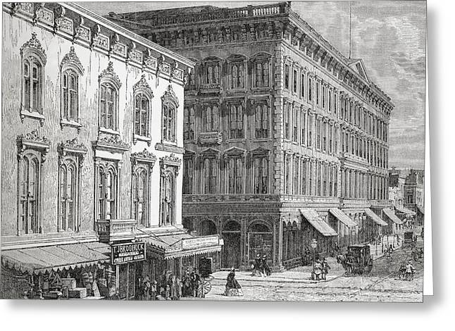 City Buildings Drawings Greeting Cards - View Of The Western Hotel, Montgomery Greeting Card by Ken Welsh