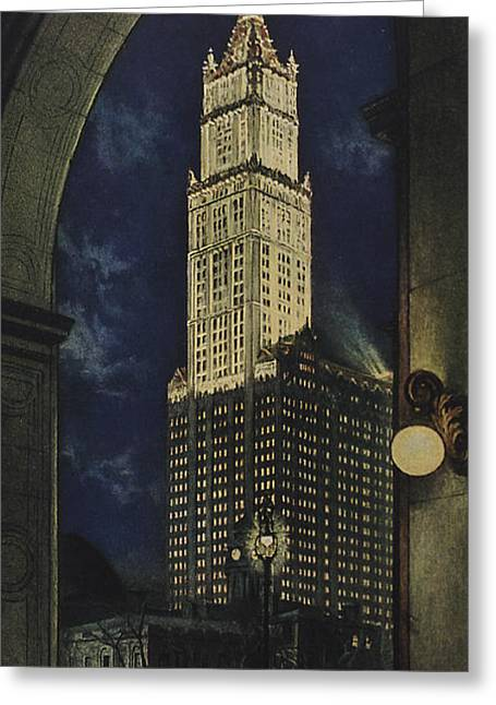 Night Lamp Drawings Greeting Cards - View Of The Woolworth Building Greeting Card by American School