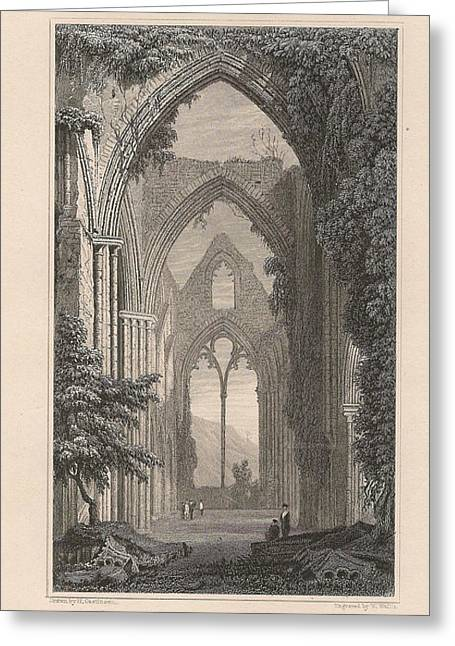 Cambria Mixed Media Greeting Cards - View of Tintern Abbey, Wales Greeting Card by Victorian Engraver