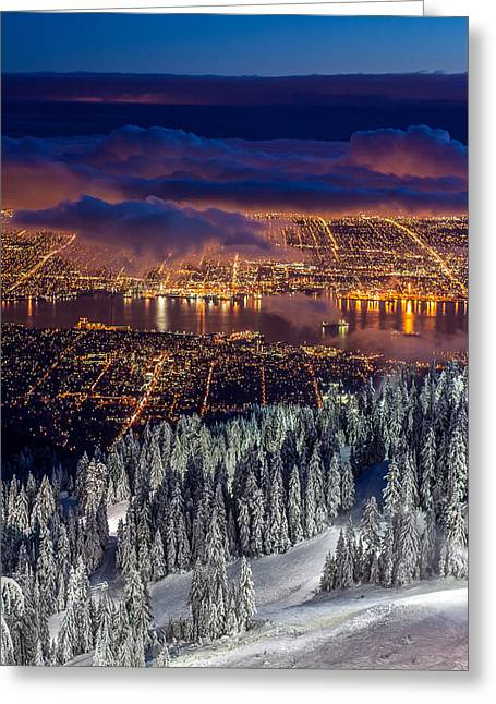 View Of Vancouver From Grouse Mountain At Sunset Greeting Card by Pierre Leclerc Photography