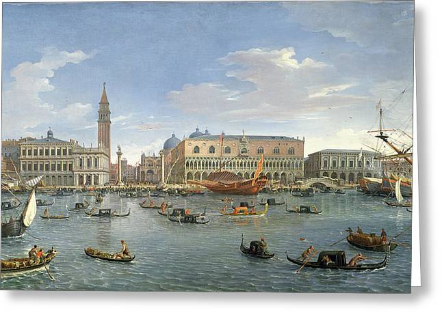 Venetian Architecture Greeting Cards - View of Venice from the Island of San Giorgio Greeting Card by Gaspar van Wittel