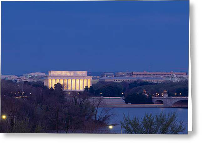 Seat Of Power Greeting Cards - View Of Washington Dc At Dusk Greeting Card by Panoramic Images