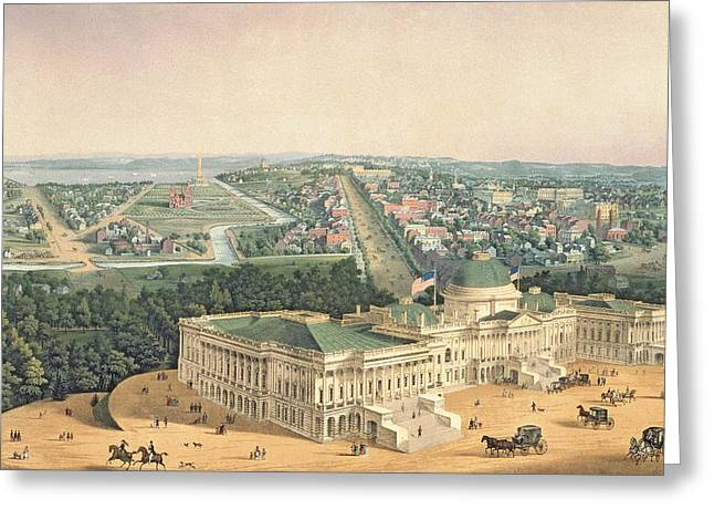 Aerial View Greeting Cards - View of Washington DC Greeting Card by Edward Sachse