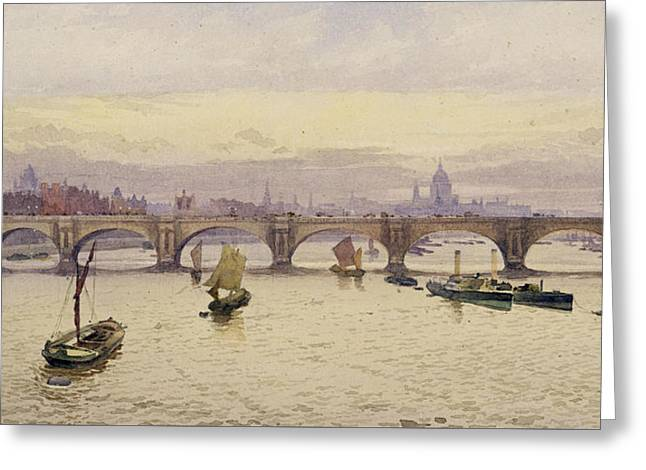View Of Waterloo Bridge From Hungerford Bridge Greeting Card by John Crowther