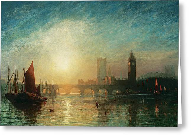 River View Greeting Cards - View of Westminster Bridge and the Houses of Parliament Greeting Card by James Francis Danby