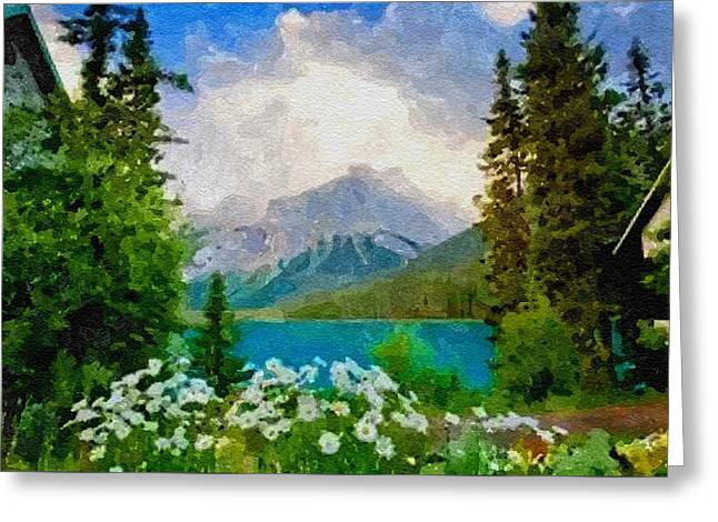 Abstract Digital Pastels Greeting Cards - View On The Mountains From The Lake H B Greeting Card by Gert J Rheeders