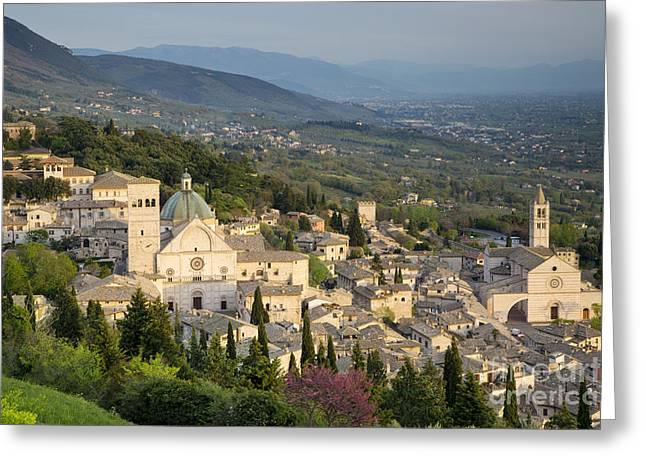 Chiara Greeting Cards - View over Assisi Greeting Card by Brian Jannsen