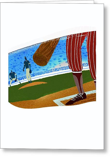 Baseball Uniform Greeting Cards - View Over Home Plate In Baseball Stadium Greeting Card by Gillham Studios