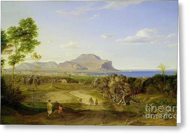 Italian Islands Greeting Cards - View over Palermo Greeting Card by Carl Rottmann