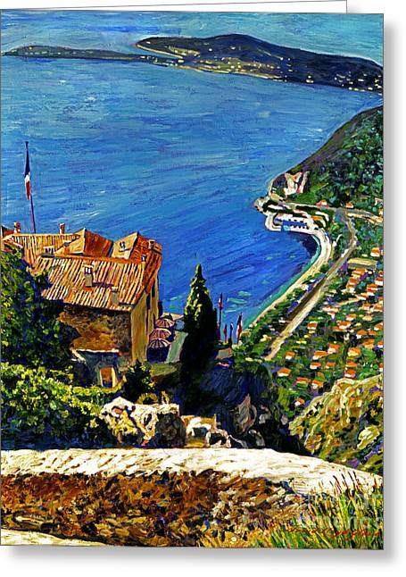 View Over The Riviera Greeting Card by David Lloyd Glover