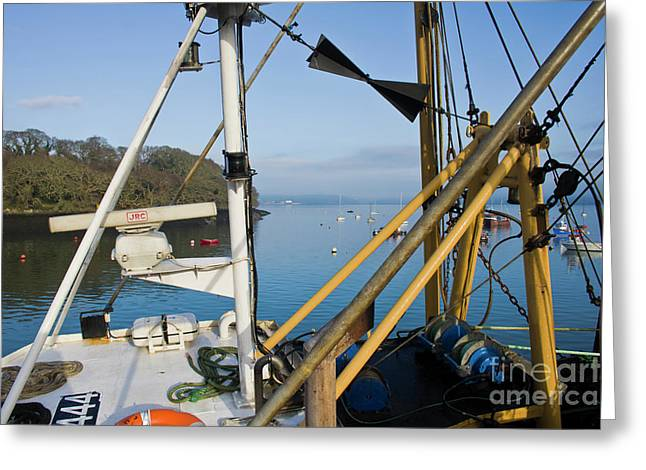View Through A Mylor Trawler Greeting Card by Terri Waters