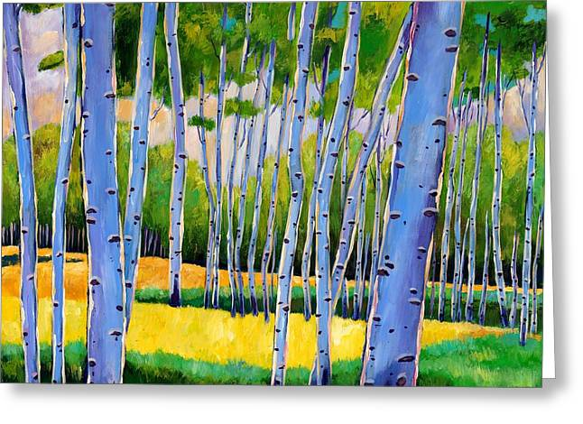 Bright Paintings Greeting Cards - View Through Aspen Greeting Card by Johnathan Harris