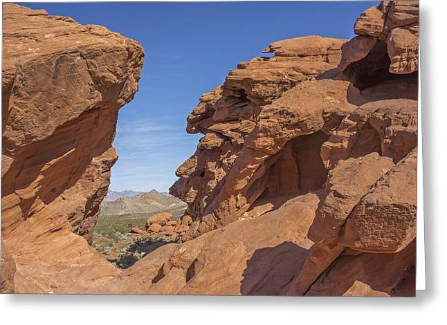 View Through The Rocks Greeting Card by Loree Johnson