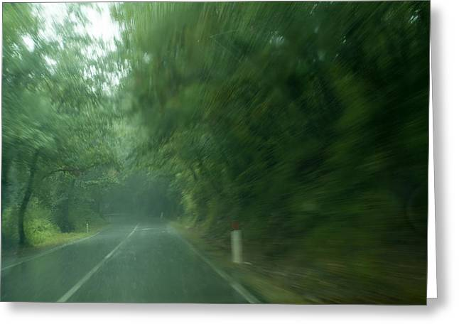 Chianti Greeting Cards - View Through Window Of A Car Driving Greeting Card by Todd Gipstein