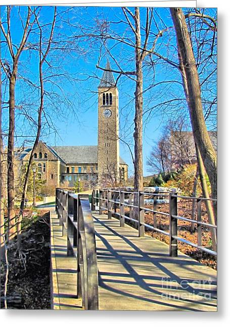 Ithaca Greeting Cards - View to McGraw Tower Greeting Card by Elizabeth Dow