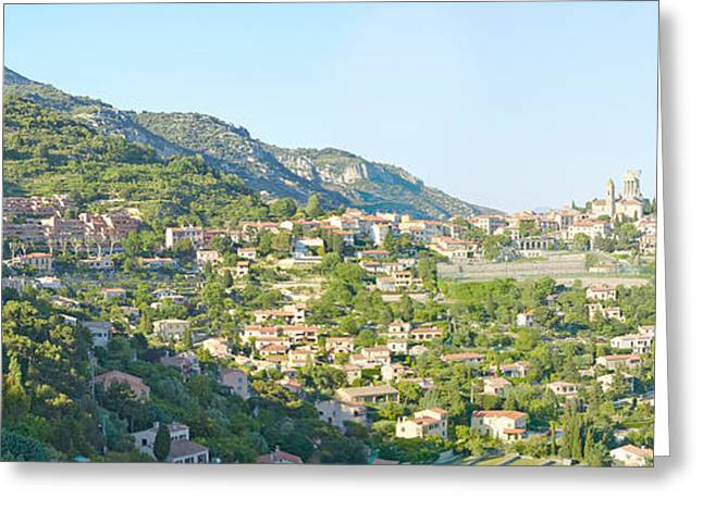 Mediterranean Style Greeting Cards - View Toward Town Of La Turbie Greeting Card by Panoramic Images