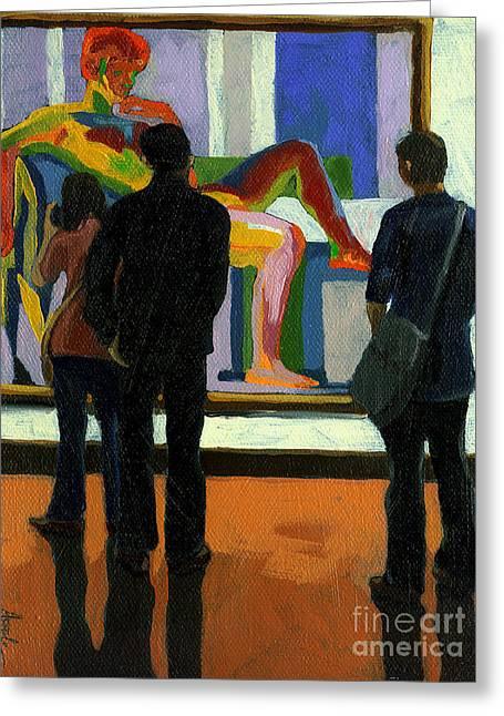 Linda Apple Paintings Greeting Cards - Viewing the Nude oil painting Greeting Card by Linda Apple