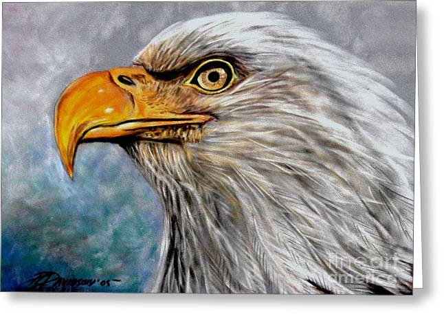Eagles Pastels Greeting Cards - Vigilant Eagle Greeting Card by Patricia L Davidson