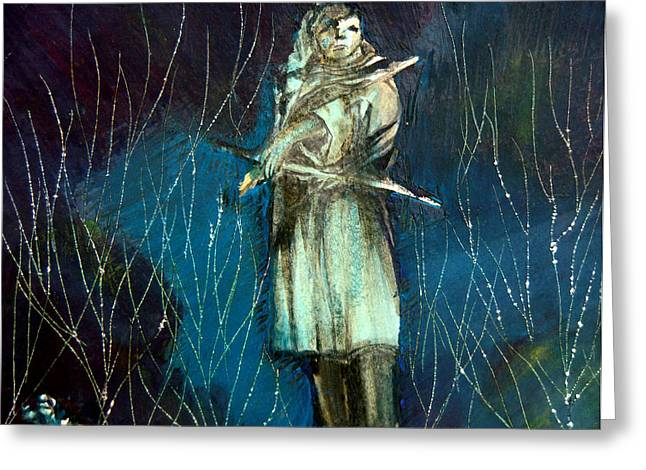 American Indian Mixed Media Greeting Cards - Vigilence Greeting Card by Mindy Newman