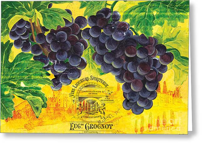 Purple Grapes Paintings Greeting Cards - Vigne De Raisins Greeting Card by Debbie DeWitt