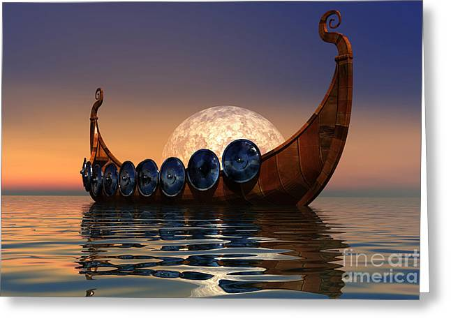 Wooden Greeting Cards - Viking Boat Greeting Card by Corey Ford