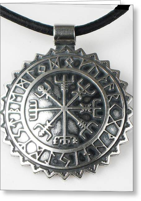 Celtic Necklace Greeting Cards - Viking Celtic Vegvisir Compass with Rune Calendar  - Sterling Silver Key Ring or Pendant Greeting Card by Virginia Vivier -  Esprit Mystique