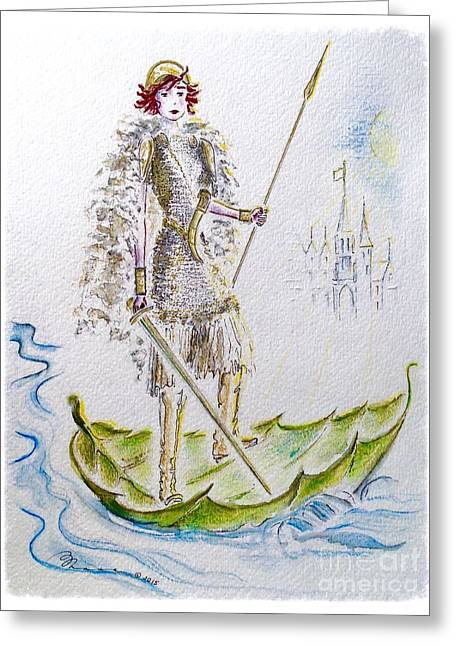Floating Girl Greeting Cards - Viking Princess Greeting Card by Barbara Chase