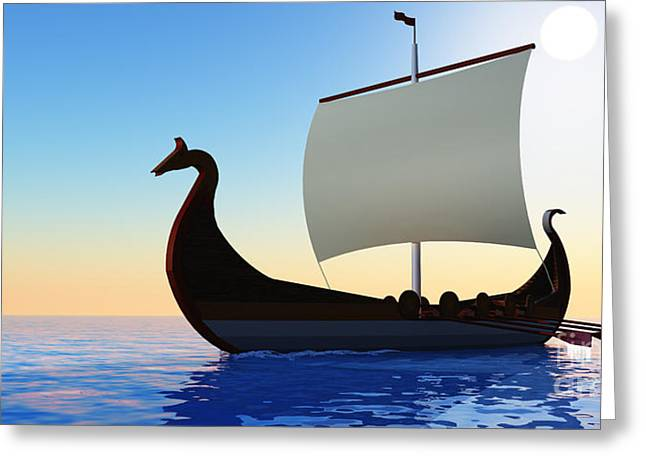 Civilization Greeting Cards - Viking Voyage Greeting Card by Corey Ford